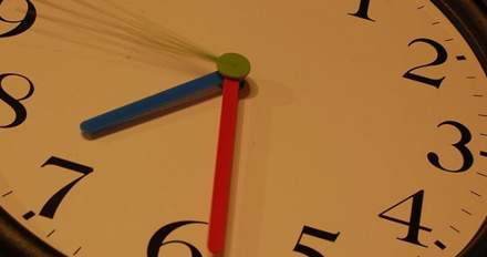 Clock with red and blue hands