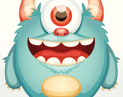 Our 6th Story – Kissy the one eyed friendly tall clay blue monster – A story from Sarah's World