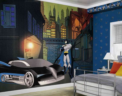 Cartoon-Batman-on-Kids-Bedroom-Murals-Painting-Ideas