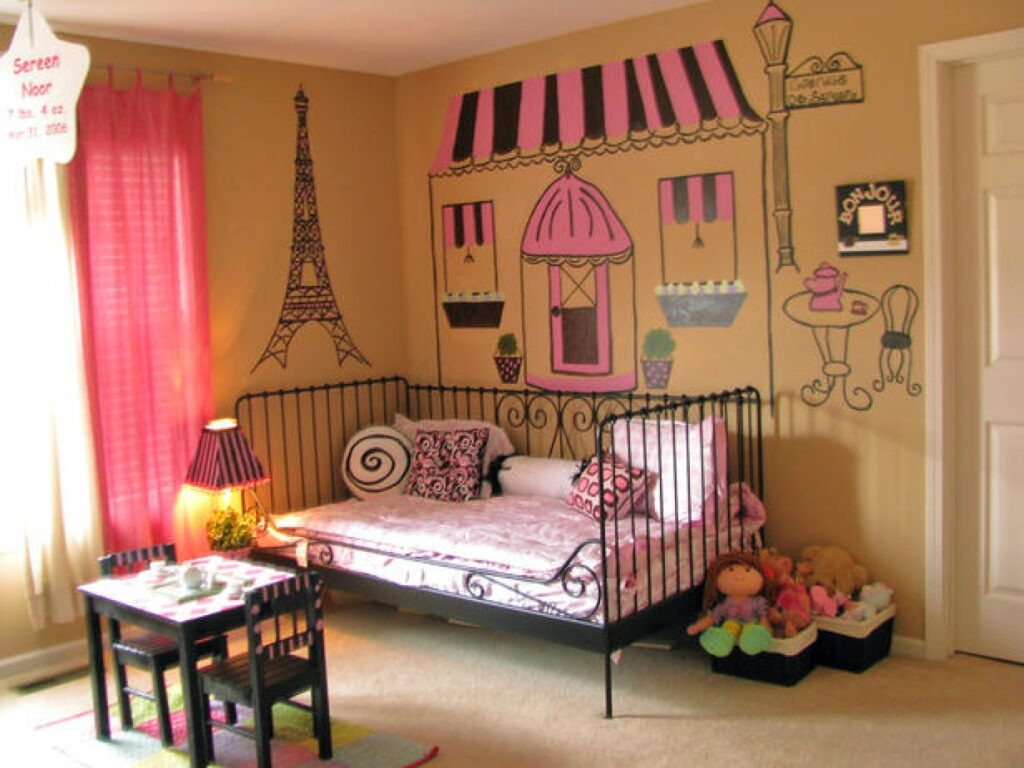 Wall-stickers-for-teen-bedroom-teens-room-cute-peach-french-girls-room-decoration-with-eiffel-wall-sticker-and-parisian-buodoir-bedroom-also-small-table-and-twin-black-chairs-lovely-french-girls