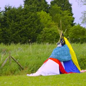 Building dens – with sticks, leaves and anything I could find outside!