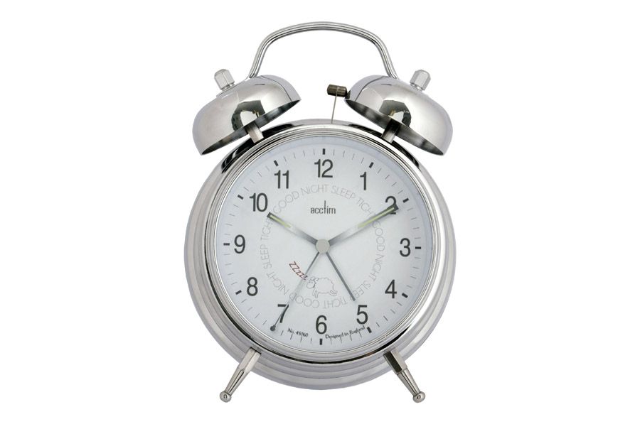 Good night sleep tight chrome double bell alarm clock RTG
