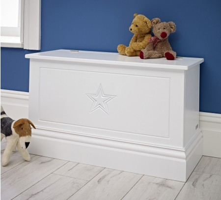 White Storage box with teddy bears on top