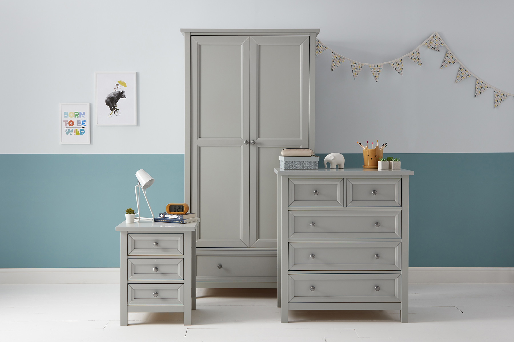 Jubilee Bunk Bed with Trundle in Soft Grey