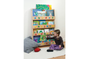 Open Facing Bookcase in Natural Finish - lowercase letters