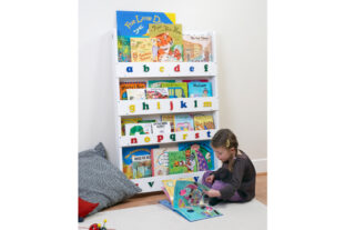 Open Facing Bookcase in White Finish - lowercase letters
