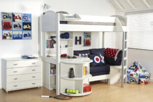 Stompa Casa 4 High Sleeper (White & Navy)