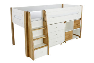 Stompa Radius Midsleeper, 3 Drawer Chest & Cube Unit with 2 Oak Doors
