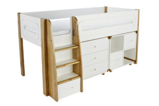 Stompa Radius Midsleeper, 3 Drawer Chest & Cube Unit with 2 Silk White Doors