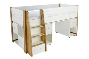 Stompa Radius Midsleeper, Desk and Cube Unit with 4 Silk White Doors