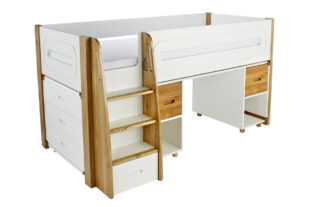 Stompa Radius Midsleeper, 3 Drawer Chest & Desk with 2 Doors