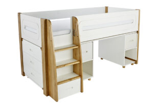 Stompa Radius Midsleeper, 3 Drawer Chest and Desk with 2 Silk White Doors