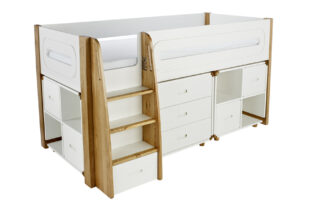 Stompa Radius Midsleeper, 3 Drawer Chest & 2 Cube Units with 4 Silk White Doors
