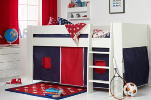 Solitaire White Midsleeper with Navy & Red Tent
