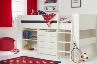 Solitaire White Midsleeper with Bookcase and Chest