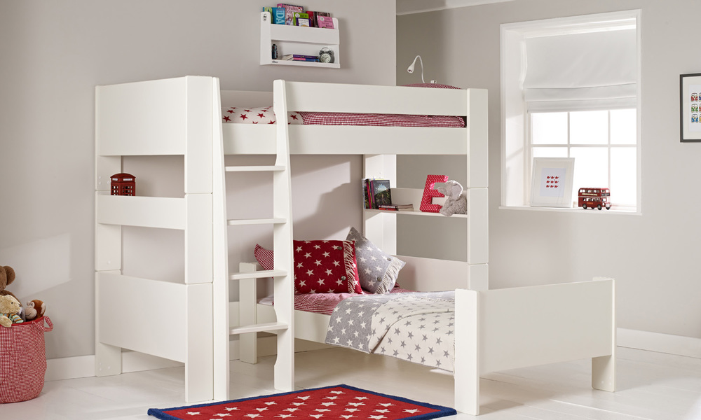 Solitaire White L Shaped Bunk Bed