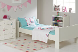 Solitaire White Single Bed, Chest & Bookcase