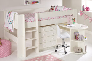 Solitaire White Midsleeper with Pull Out Desk & Chest