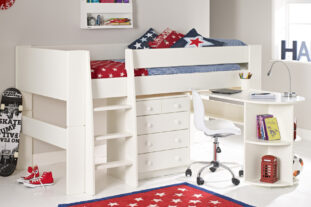 Solitaire White Midsleeper with Pull Out Desk & Chest (Boy)