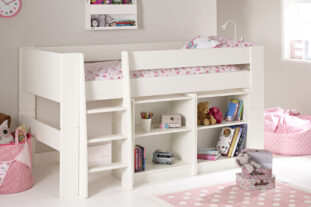 Solitaire White Midsleeper with Two Bookcases