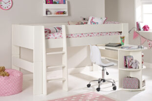 Solitaire White Midsleeper with Pull Out Desk