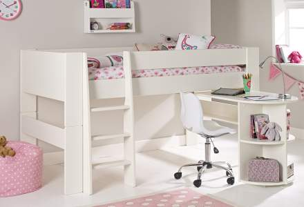 white midsleeper with desk