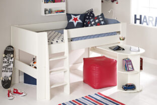 Solitaire White Midsleeper with Pull Out Desk (Boy)