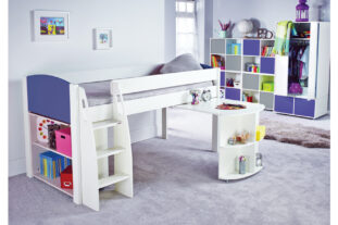 Stompa UNO S 8 Midsleeper with Pull Out Desk & Bookcase