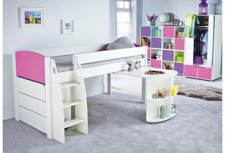 Stompa UNO S 9 Midsleeper with Pull Out Desk and Chest of Drawers