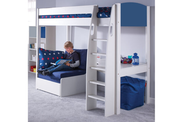 Stompa UNO S 5 Highsleeper with Desk & Chair Sofa Bunk bed blue and blue