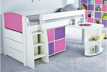 Stompa UNO S 3AD Midsleeper with Pull Out Desk, Multi Cube and Chest