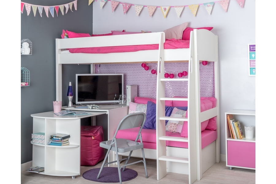 Stompa Uno High Sleeper Frame With Desk And Chair Bed