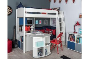 Stompa UNOS 28 - Highsleeper with Sofa Bed, Fixed Table, Pull Out Desk with Hutch and Cube