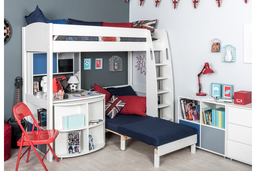 Fabulous Stompa Unos 28 Highsleeper With Sofa Bed Fixed Table Pull Out Desk With Hutch And Cube Theyellowbook Wood Chair Design Ideas Theyellowbookinfo