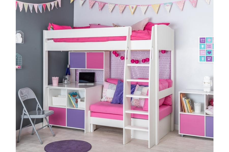 highsleeper with pink sofa