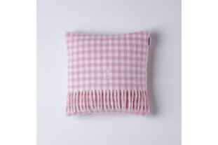 Pink & White Gingham Baby Cushion