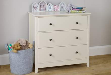 Jubilee 3 Drawer Wide Chest in Ivory White