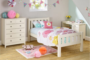 Jubilee Room Set C - Single Bed, Desk, 4+2 Chest in Ivory White