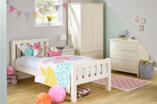 Jubilee Room Set D - Single Bed, 3 Drawer Chest, Double Wardrobe in Ivory White