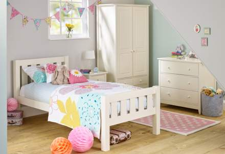 Jubilee Room Set E - Single Bed, 3 Drawer Bedside, 3 Drawer Chest, Double Wardrobe in Ivory White