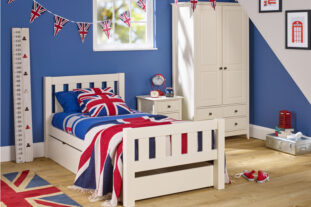 Jubilee Room Set H - Single Bed, Underbed Drawer, 3 Drawer Bedside, Double Wardrobe in Ivory White