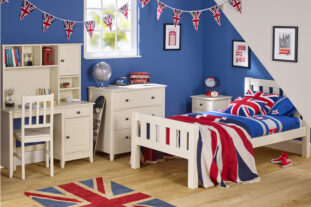 Jubilee Room Set G - Single Bed, 3 Drawer Bedside, Desk with Hutch, 3 Drawer Chest in Ivory White