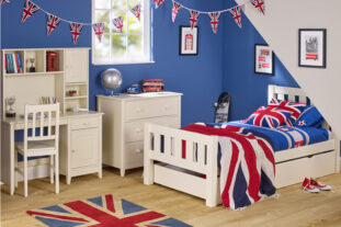 Jubilee Room Set F - Single Bed, Underbed Drawer, Desk with Hutch, 3 Drawer Chest in Ivory White