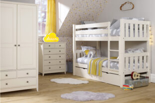 Jubilee Room Set J - Bunk Bed, Double Wardrobe, 4+2 Chest in Ivory White