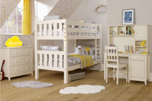 Jubilee Room Set K - Bunk Bed, 3 Drawer Chest, Desk + Hutch in Ivory White