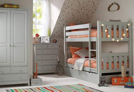 Jubilee Room Set J - Bunk Bed, Double Wardrobe, 4+2 Chest in Soft Grey