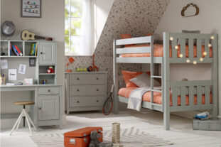 Jubilee Room Set K - Bunk Bed, 3 Drawer Chest, Desk + Hutch in Soft Grey
