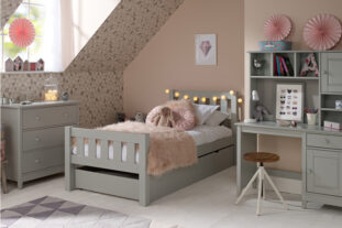 Jubilee Room Set F - Single Bed, Underbed Drawer, Desk with Hutch, 3 Drawer Chest in Soft Grey