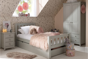 Jubilee Room Set H - Single Bed, Underbed Drawer, 3 Drawer Bedside, Double Wardrobe in Soft Grey