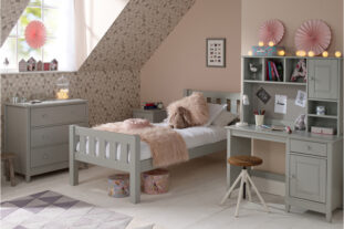 Jubilee Room Set G - Single Bed, 3 Drawer Bedside, Desk with Hutch, 3 Drawer Chest in Soft Grey